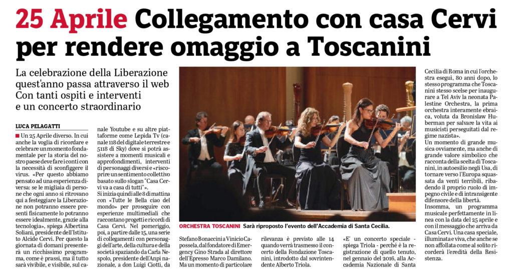 25 aprile collegamento con Casa Cervi per rendere omaggio a Toscanini